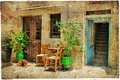 Charming streets greek islands retro styled picture Royalty Free Stock Photo