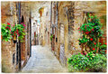 Charming streets of medieval towns spello italy old artistic vintage picture Stock Images