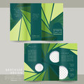 Charming tri fold brochure template design with triangle background in green Royalty Free Stock Photos