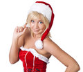 Charming woman in Santa Claus clothes Royalty Free Stock Photo