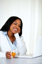Charming woman smiling and reading on laptop Royalty Free Stock Images