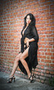 Charming young brunette woman in black and high heels staying near a red brick wall Royalty Free Stock Photo
