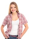 Charming young female smiling against white backgr Royalty Free Stock Photography