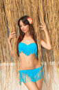 Charming young girl in bathing suit near straw canopy Royalty Free Stock Photo