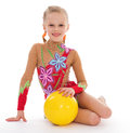 Charming young girl gymnast sport kids kid child isolated on white background Stock Image