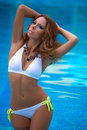 Charming young woman beautiful in a swimsuit Stock Photography