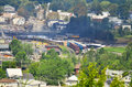 Charred remains of quebec train derailment lac megantic taken from a high point in the town scattered cars Stock Photography