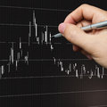 Chart analysis and a hand with pen Stock Images