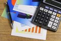 Chart, Calculator & Pen Royalty Free Stock Photo