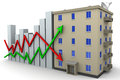 Chart changes in property prices and multiroom apartment house Royalty Free Stock Photo