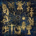 Chart with characters of zodiac symbols and solar signs on abstract background
