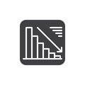 Chart goes down icon vector, filled flat sign, solid pictogram isolated on white. Negative dynamic symbol, logo illustration.