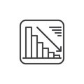 Chart goes down line icon, outline vector sign, linear style pictogram isolated on white. Negative dynamic symbol, logo illustrati