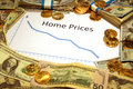 Chart of home prices falling down with money and gold Royalty Free Stock Photo