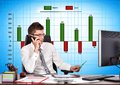 Chart of profit and cost businessman talking on phone Stock Photos