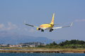 Charter flight landing at corfu a boeing of tui fly is airport Stock Image