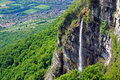 Chartreuse waterfall from the saint hillaire area of the mountain range near grenoble france Royalty Free Stock Images