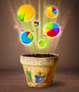 Charts coming out from flowerpot glowing pie Stock Photography