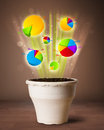 Charts coming out from flowerpot glowing pie Royalty Free Stock Images