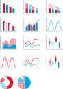 Charts and graphs collection of several styles of in red white blue Stock Images