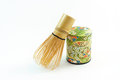 Chasen the bamboo whisk and macha tea container for making matcha green matcha green Stock Photography