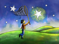 Chasing stars kid trying to catch a star with a butterfly net digital watercolor Royalty Free Stock Photo