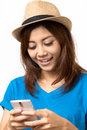 Chat asian woman on mobile Royalty Free Stock Image