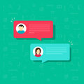Chat bubble icon vector, flat messages bubbles with man and woman icons, idea of internet dialog, communication