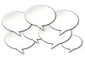 Chat bubbles conversation on white background talk crowded a Stock Image
