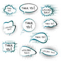Chat bubbles with thank you and welcome back messa messages set Stock Photo