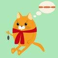 Chat de gingembre d image dans une écharpe Images stock
