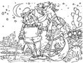 Chat et renard minables Photo stock