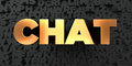 Chat - Gold text on black background - 3D rendered royalty free stock picture