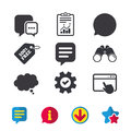 Chat icons. Comic speech bubble signs. Think. Royalty Free Stock Photo