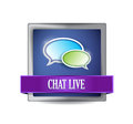 Chat live glossy button illustration design over a white background Stock Photo