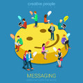 Chat messaging communication concept flat d web isometric infographic vector micro young chatting people with electronic devices Stock Photos