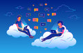 Chat talk concept design of young people using laptops for sending messages and sitting on clouds in the sky