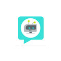 Chatbot in chatting bubble speech vector icon, chat bot service logo, robot head