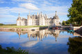 Chateau de Chambord, royal medieval french castle with reflectio Royalty Free Stock Photo