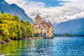 Chateau de Chillon at Lake Geneva, Canton of Vaud, Switzerland Royalty Free Stock Photo