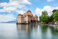 Chateau de Chillon at Lake Geneva in Montreux, Switzerland Royalty Free Stock Photo