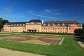 Chateau in dobris the view of french garden and Royalty Free Stock Image