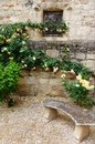 Chateau garden stone bench Royalty Free Stock Photo