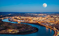 Chattanooga downtown at night as seen from lookout mountain Stock Photography
