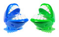 Chattering teeth toys on white background Stock Photos