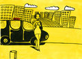 Chauffören taxar kvinnan Arkivbild