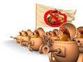 Chauvinism. Chicken uprising Stock Images