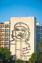 Che guevara image in front of revolution square havana cuba feb popular government building with Royalty Free Stock Image