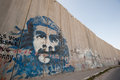 Che mural on israeli separation wall a of guevara covers the in the palestinian town of abu dis Royalty Free Stock Photography