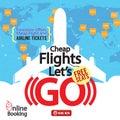 Cheap Flights Advertising Banner. Royalty Free Stock Photo